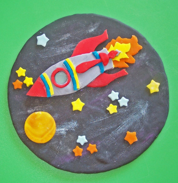 Items similar to Rocket Ship in Space Cake Topper on Etsy