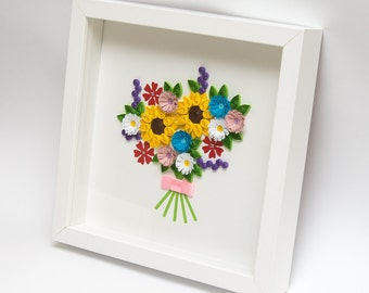 Beautiful Framed Quilling Art Colorful Flowers Unique Wall Home Decor Hangings Sunflowers Unusual Gift