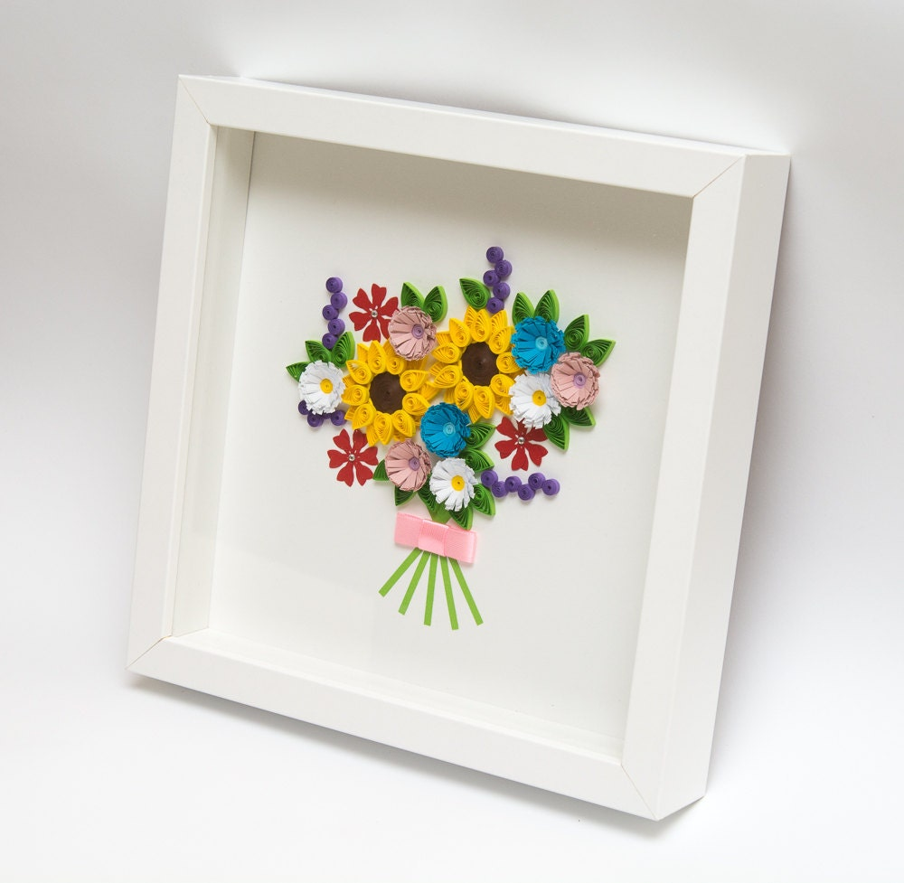 Beautiful framed quilling art colorful flowers unique wall art for Unusual wall art