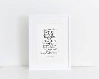 Finest, Loveliest, Tenderest   F. Scott Fitzgerald Print