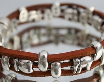 leather Bracelet, brown, elephant, magnet closure