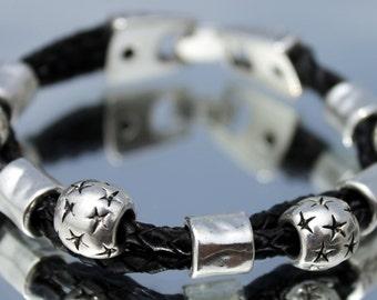 Leather Bracelet with stars