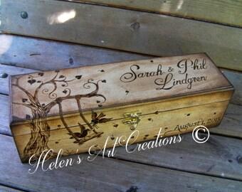 Custom Wine Box, Wedding Wine Box, Engraved Box, Personalized Wine Box, Birds, Swing,Tree,  Birthday Keepsake Box, Wedding Keepsake