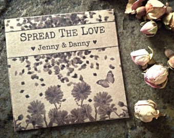 Flower Seed Wedding Favors Plant Favours Seeds Seedling Spread The Love Packet Rustic Kraft Recycled Envelope Personalised Bag Pack