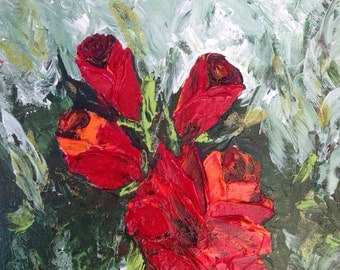 Abstract Orange Red Roses original Palette Knife  painting 8 x 10
