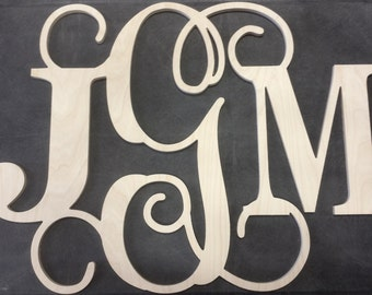 26 inch Block Vine Wooden Monogram