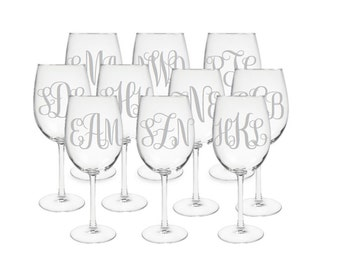Set of 10 Monogrammed Etched Wine Glasses