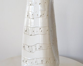 Incised Ceramic Ribbon Vase