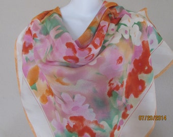 "silk scarf from Nordstrom  36"" x 36"" cream border"