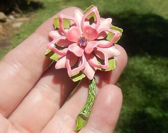 Vintage 60's ~ Enamel Pink Floral Brooch or Pin