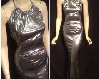 Silver Glamour Metallic 1930's Halter Gown Slinky Bias Cut Frederick's of Hollywood Queen of Outer Space