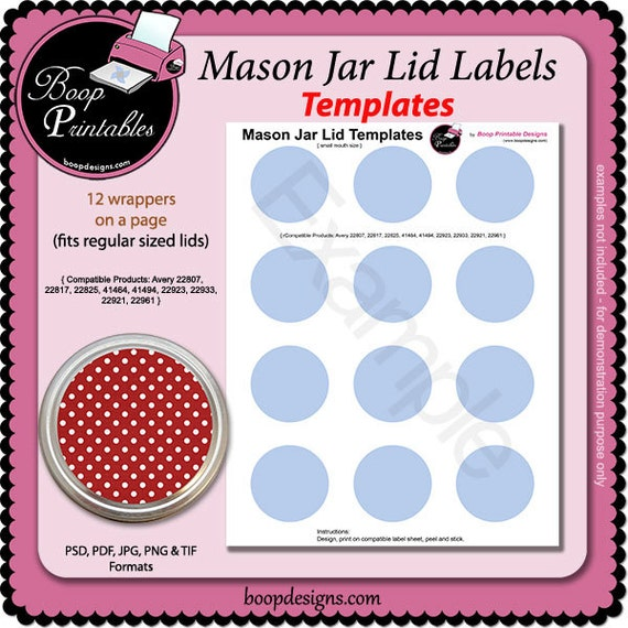 Canning Jar Lid TEMPLATE By Boop Printables
