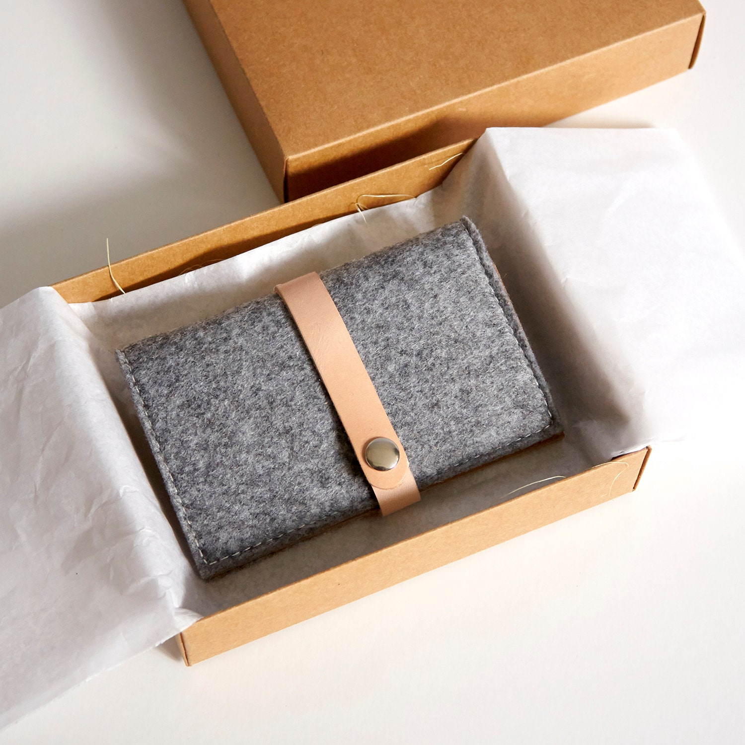 Handmade Wool Felt With Kraft Card Holder Business card case