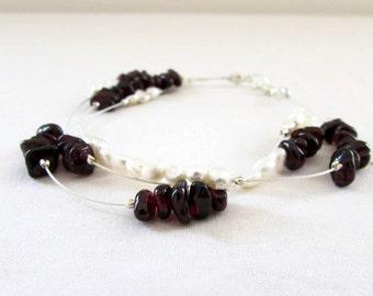 Garnet and freshwater pearl bracelet, January birthstone, handmade in the UK