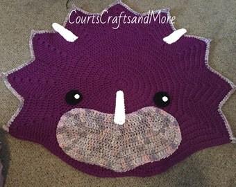 Triceratops Crochet Rug, Dinosaur Rug, Handmade Crochet Rug, Dino Rug