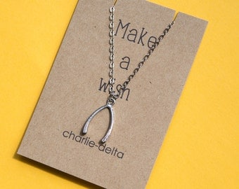 Make a wish necklace - wishbone necklace on card
