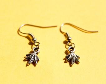 Cannabis weed earrings - dainty weed dangle earrings