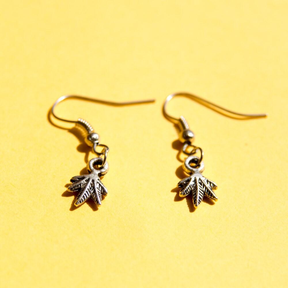 cannabis earrings dainty dangle earrings
