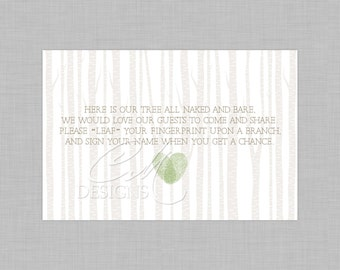 Fingerprint Tree Guestbook Instruction Card/Poem