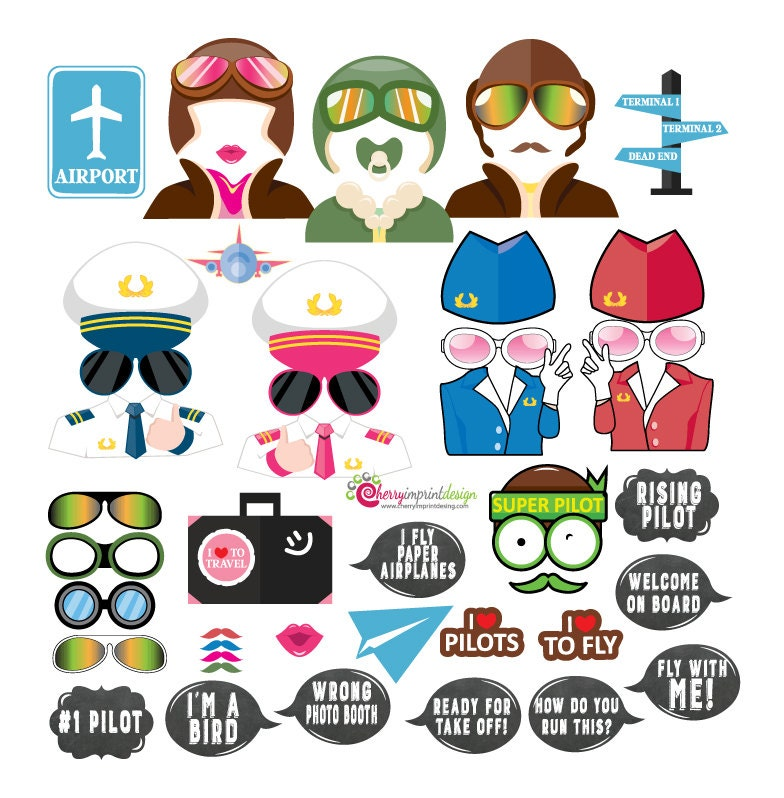 35 Pilot Party Props Airplane Party Diy Printable Photo Booth: 48 Hilarious Pilot Aviation Airplane Flight Travel Photo Booth