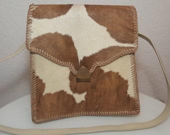 FREE  SHIPPING    1950 Cowhide Fur Leather Handbag
