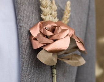 Copper and Wheat Buttonhole / Paper Boutonniere / Mens Buttonholes / Metallic Rose Gold Paper Flower Buttonholes / Rustic Wedding / UK