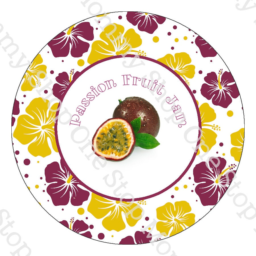 Printable Passion Fruit Jam Canning Lid Labels