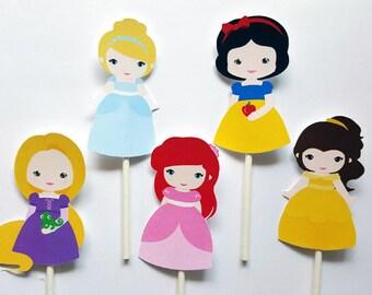 Princess Cupcake Toppers, Princess Birthday, Princess Party