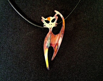 Handcrafted flame-painted torched copper whimsical cat pendant, cat necklace, copper cat jewelry, made in Canada, west coast handmade, meow