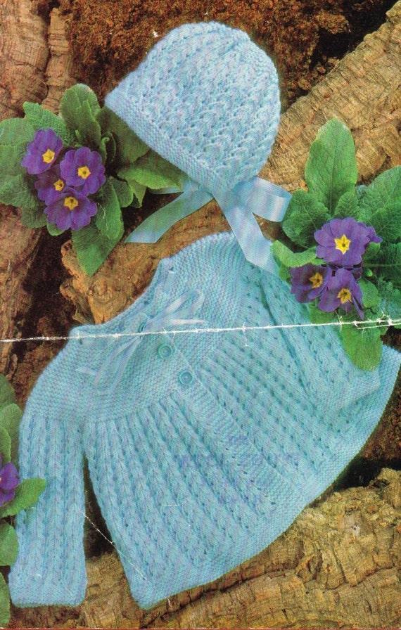 Knitting Vintage Things : Items similar to baby matinee coat set vintage knitting