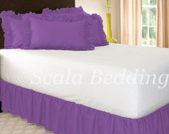1000TC Dust Ruffle Bed Skirt 100% Egyptian Cotton Purple Select Size