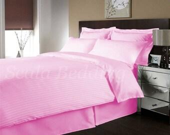 100% Egyptian Cotton Bedding Full/Queen Striped Duvet Cover & Shams Set Pink