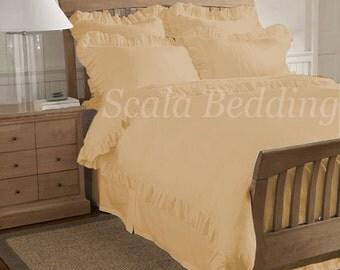 100% Egyptian Cotton 1000TC Beige Edge Ruffle Duvet Cover Set Select Size