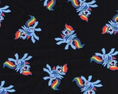 IN STOCK NOW My Little Pony Rainbow Dash black cotton fabric by the yard, flat rate shipping