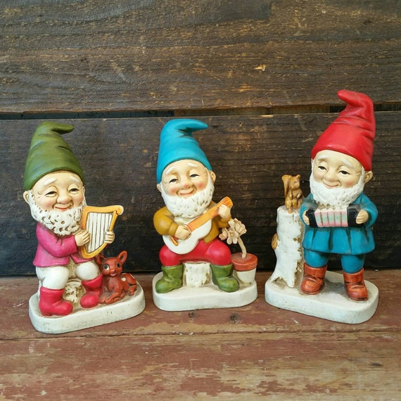 Homco gnomes vintage chalkware colorful gnome