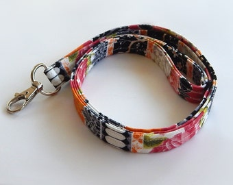 Floral Lanyard / Roses / Lace Keychain / French Floral / Damask / Key Lanyard / ID Badge Holder / Fabric Lanyard / Lanyards