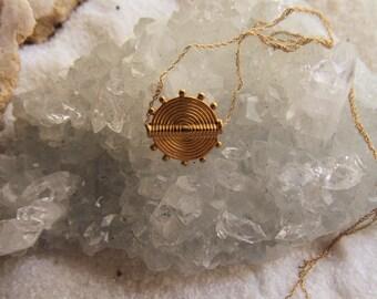 24k Gold Vermeil Ariadne Necklace on Solid 14k Gold Chain