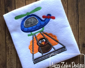 Helicopter with Turkey Applique Design