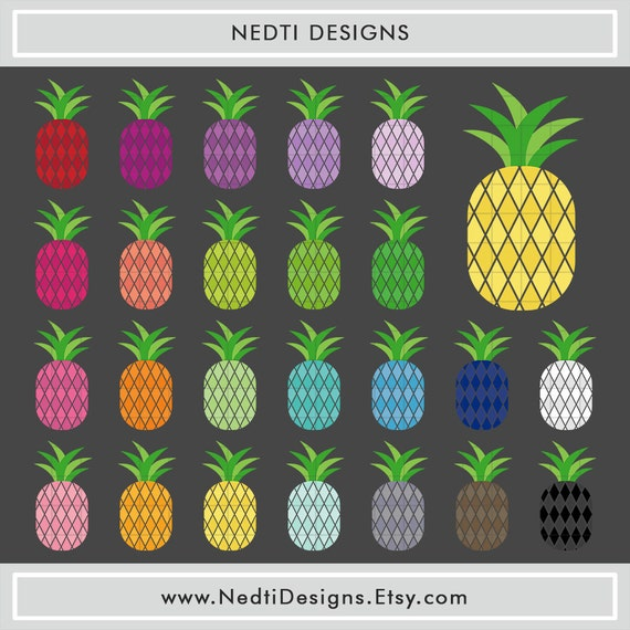 24 Pineapple Clipart Colorful Rainbow Color Fruit Clip Art