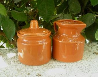 Ceramic Sugar bowl and creamer ,1970s,Kfar Menachem ceramics Israel.