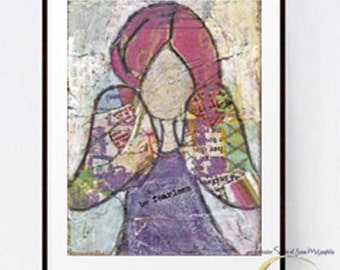 Be Fearless~ Mixed Media Print~Art Print~Card~Girl~Angel~Inspirational:Print