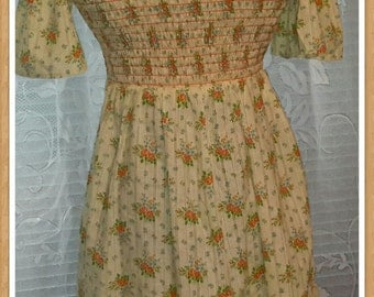 Vintage Yellow Petite Flower Smocked Cotton Top with Tie Backs