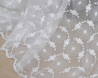 "Lace Fabric Ivory Chrysanthemum Cotton Embroidery Wedding Fabric 51.1"" width 1 yard"