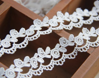 "2 Yards Lace Trim White Rose Lace Fabric Wedding Trim 0.98"" width"