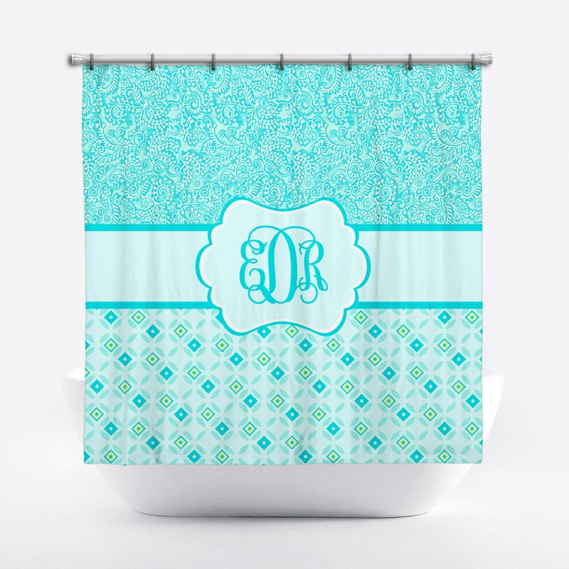 monogrammed shower curtain aqua paisley personalized shower