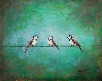 Birds on a wire green painting, abstract bird wall art on canvas, original finch painting by Nancy Quiaoit