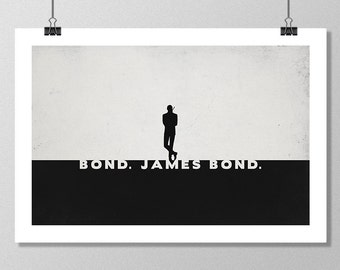 "JAMES BOND Inspired Sean Connery Minimalist Movie Poster Print - 13""x19"" (33x48 cm)"