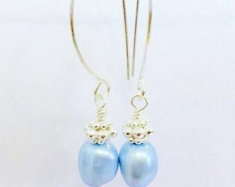 Pearl Earrings, Serenity Blue earrings, June Birthstone Earrings, Dangle earrings, Gemstone earrings, Baby Blue Pearl Earrings