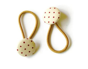 Light brown Hair buttons, Brown dotted buttons,  fabric hair accessories,  brown buttons for hair