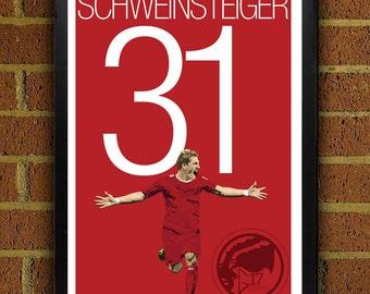 Bastian Schweinsteiger 31 Bayern Football - Soccer Poster 8x10, 13x19, print, art, home decor, wall decor, germany, world cup, bayern